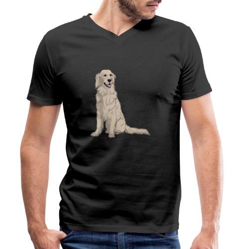 Golden retriever - sit - Økologisk Stanley & Stella T-shirt med V-udskæring til herrer