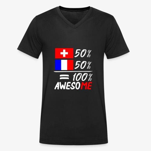50% Schweiz 50% Frankreich - Männer Bio-T-Shirt mit V-Ausschnitt von Stanley & Stella