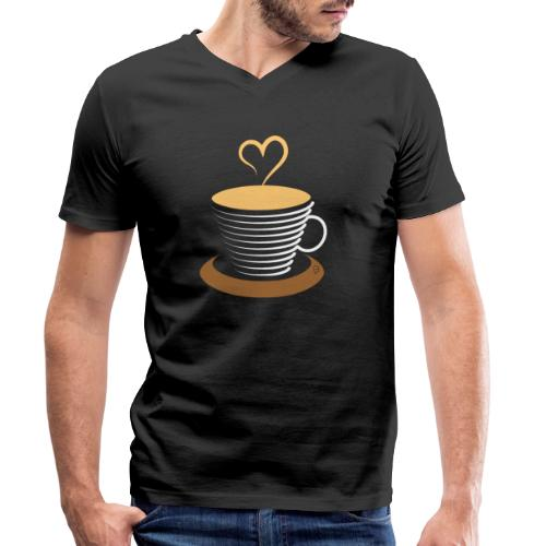 0252 Coffee | Love | Heart | Cup | coffee pot - Men's Organic V-Neck T-Shirt by Stanley & Stella