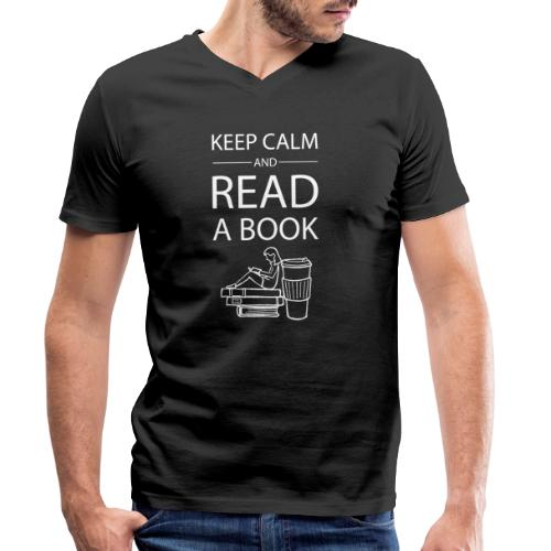0274 Librarians | Keep Calm | Book | Read - Men's Organic V-Neck T-Shirt by Stanley & Stella