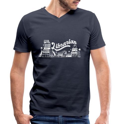 0323 Funny design Librarian Librarian - Men's Organic V-Neck T-Shirt by Stanley & Stella