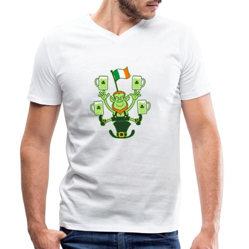 Leprechaun Juggling Beers and Irish Flag - Men's Organic V-Neck T-Shirt by Stanley & Stella