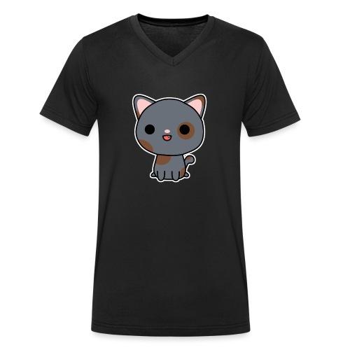 Glückliche Katze - Männer Bio-T-Shirt mit V-Ausschnitt von Stanley & Stella