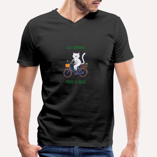 Caring About Climate Change? Go Green Ride A Bike - Men's Organic V-Neck T-Shirt by Stanley & Stella