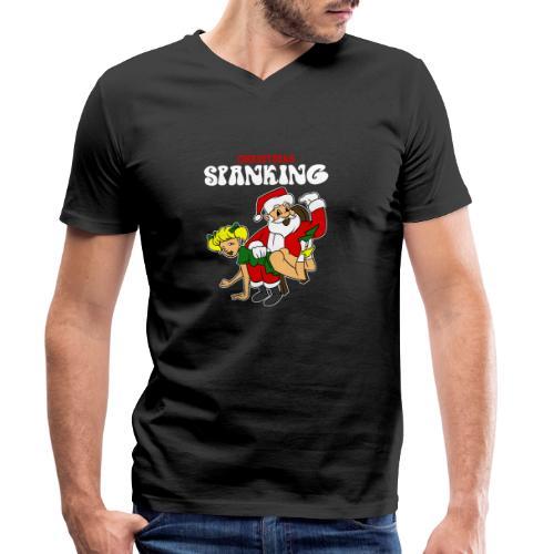 Christmas Spanking - Men's Organic V-Neck T-Shirt by Stanley & Stella