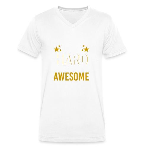 WORK HARD BE AWESOME - Männer Bio-T-Shirt mit V-Ausschnitt von Stanley & Stella