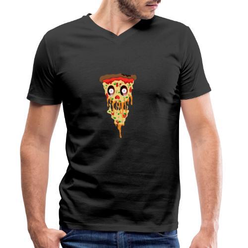 Schockierte Horror Pizza - Männer Bio-T-Shirt mit V-Ausschnitt von Stanley & Stella