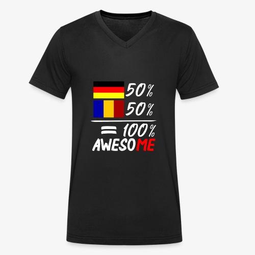 50% Deutsch 50% Rumänisch - Männer Bio-T-Shirt mit V-Ausschnitt von Stanley & Stella