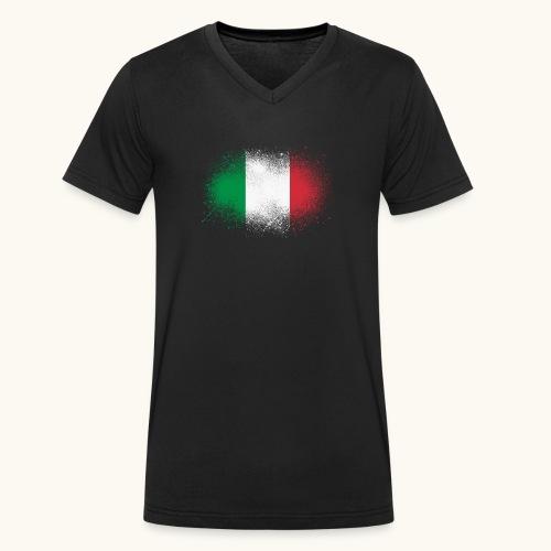 Italie cadeau drôle de drapeau italien grunge - T-shirt bio col V Stanley & Stella Homme