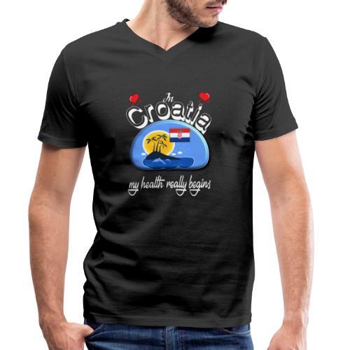 Urlaub, Kroatien, kroatisch lernen, Ferien, Kroate - Männer Bio-T-Shirt mit V-Ausschnitt von Stanley & Stella
