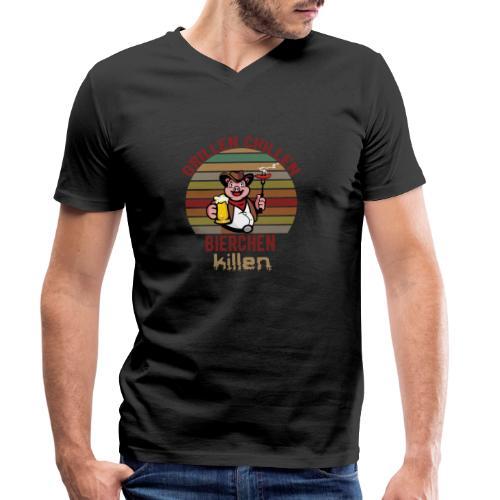 Grillen Chillen Bierchen Killen Lustiges Humorvol - Männer Bio-T-Shirt mit V-Ausschnitt von Stanley & Stella