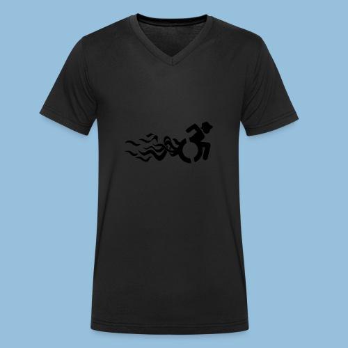 Wheelchair with flames 013 - Mannen bio T-shirt met V-hals van Stanley & Stella