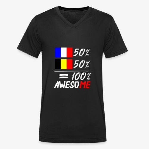 50% Frankreich 50% Belgien - Männer Bio-T-Shirt mit V-Ausschnitt von Stanley & Stella