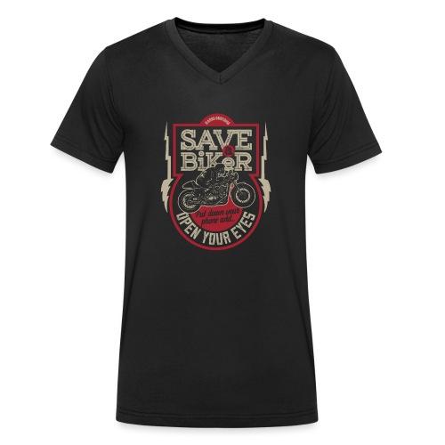 Save A Biker - Men's Organic V-Neck T-Shirt by Stanley & Stella
