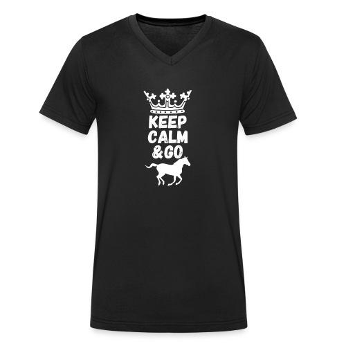 Keep Calm & Go Riding Pferde Reitsport Hoodie - Männer Bio-T-Shirt mit V-Ausschnitt von Stanley & Stella