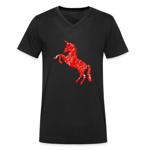 unicorn red - Ekologiczna koszulka męska z dekoltem w serek Stanley & Stella