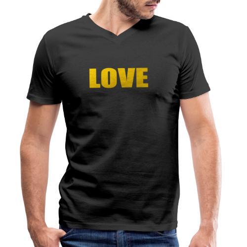 LOVE YELOW - Camiseta ecológica hombre con cuello de pico de Stanley & Stella