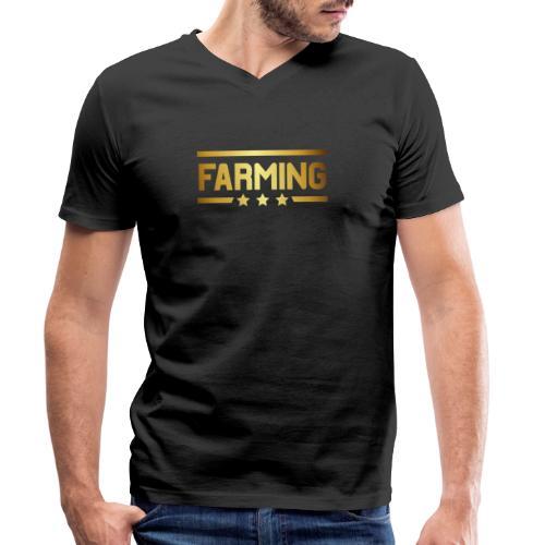 00364 Farming dorado - Camiseta ecológica hombre con cuello de pico de Stanley & Stella