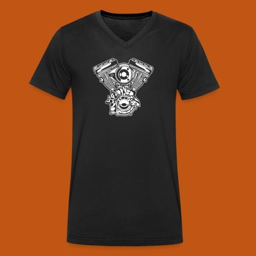 Motorrad Motor / Engine 01_weiß - Männer Bio-T-Shirt mit V-Ausschnitt von Stanley & Stella