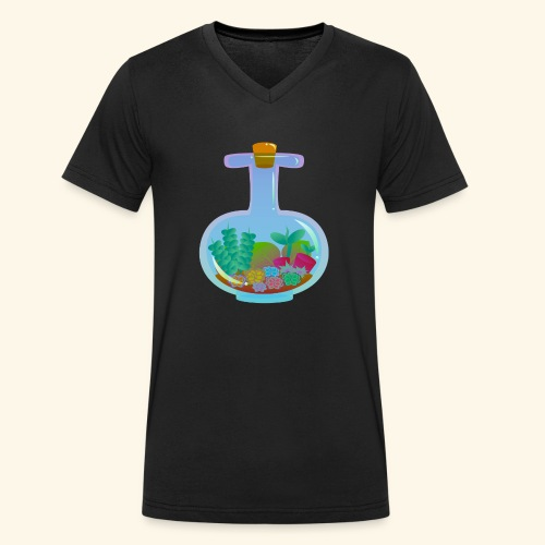 Bottled Succulents - Men's Organic V-Neck T-Shirt by Stanley & Stella