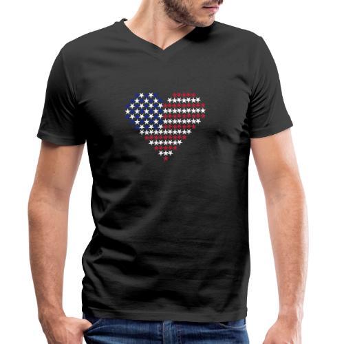 Herz Flagge USA - Männer Bio-T-Shirt mit V-Ausschnitt von Stanley & Stella