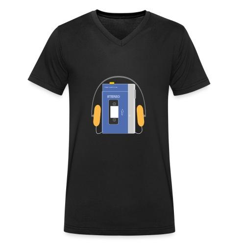 Stereo walkman in blue - Men's Organic V-Neck T-Shirt by Stanley & Stella
