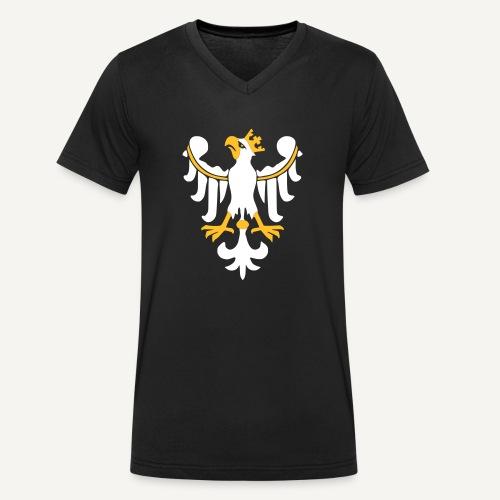 Orzeł Piastowski - Ekologiczna koszulka męska z dekoltem w serek Stanley & Stella