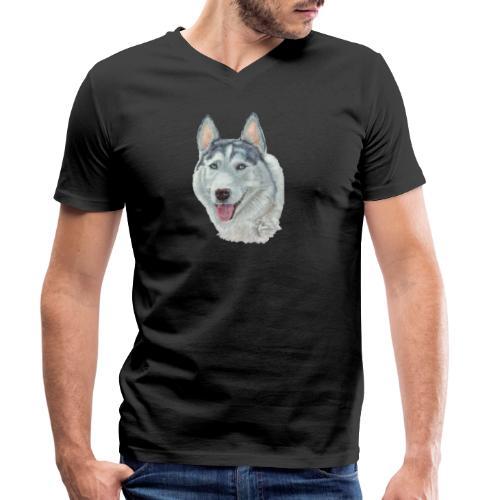 siberian husky_blueeyes - Økologisk Stanley & Stella T-shirt med V-udskæring til herrer