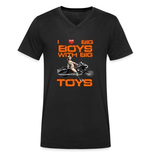 I love boys with big toys - Mannen bio T-shirt met V-hals van Stanley & Stella