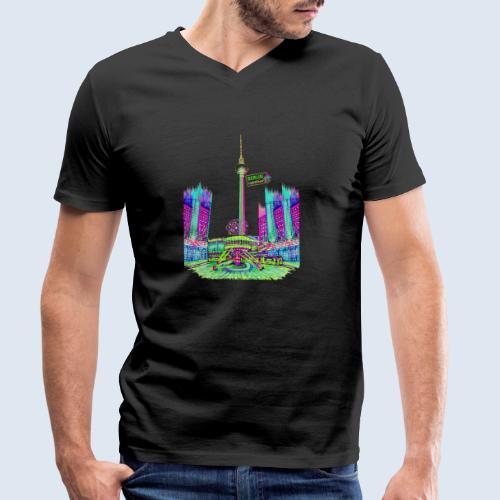 """Berliner Original """"Alexanderplatz"""" PopArt Design - Männer Bio-T-Shirt mit V-Ausschnitt von Stanley & Stella"""