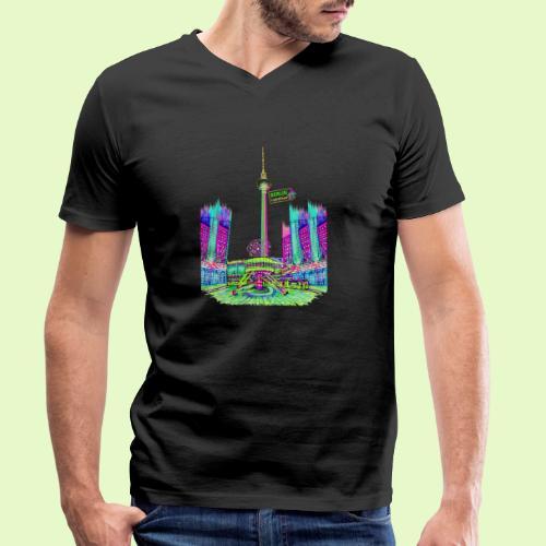 Berlin Alexanderplatz / BerlinLightShow /PopArt - Männer Bio-T-Shirt mit V-Ausschnitt von Stanley & Stella