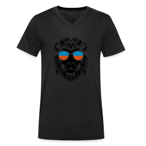 Retro Lion Sunglass 2 - Männer Bio-T-Shirt mit V-Ausschnitt von Stanley & Stella