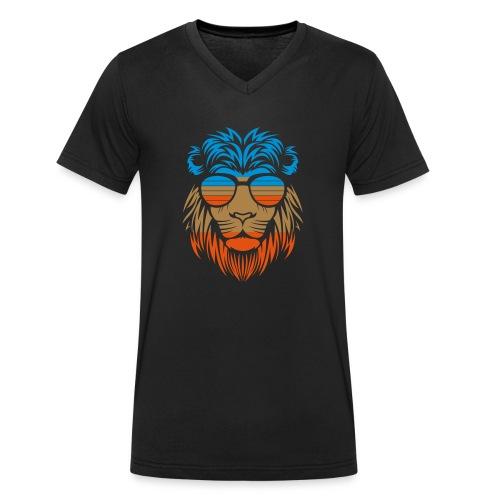 Retro Lion Sunglass - Männer Bio-T-Shirt mit V-Ausschnitt von Stanley & Stella