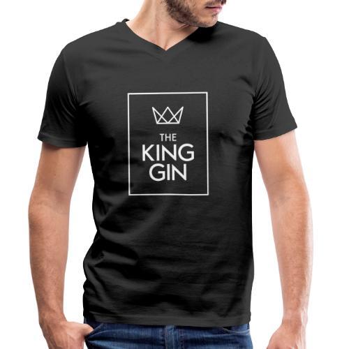 The King Gin Logo weiss RGB Rahmen - Männer Bio-T-Shirt mit V-Ausschnitt von Stanley & Stella