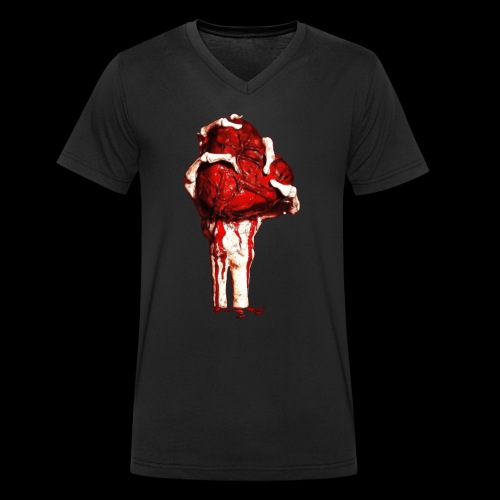 mano con corazon - Camiseta ecológica hombre con cuello de pico de Stanley & Stella