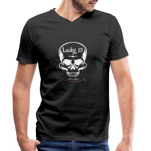 Lucky 13 , Skull Totenkopf 13 Bobber Biker Rocker - Männer Bio-T-Shirt mit V-Ausschnitt von Stanley & Stella
