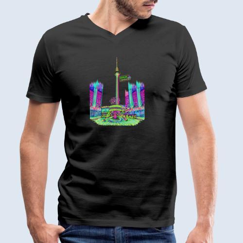 Alexanderplatz Berlin Popart ickeshop BachBilder - Männer Bio-T-Shirt mit V-Ausschnitt von Stanley & Stella