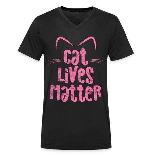 Cat Lives Matter Katzen sind auch wichtig - Männer Bio-T-Shirt mit V-Ausschnitt von Stanley & Stella