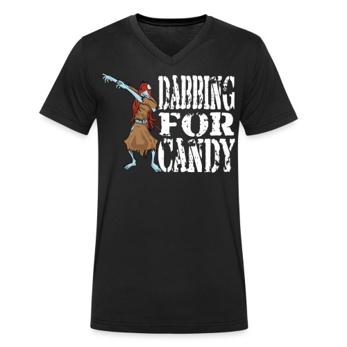 Funny Halloween Zombie Girl Dabbing For Candy. Trick or Treat Candy Lover Gift - Men's Organic V-Neck T-Shirt by Stanley & Stella