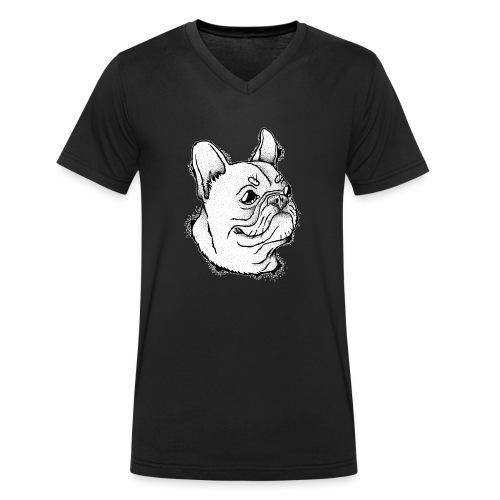 Französische Bulldogge Kopf - Männer Bio-T-Shirt mit V-Ausschnitt von Stanley & Stella
