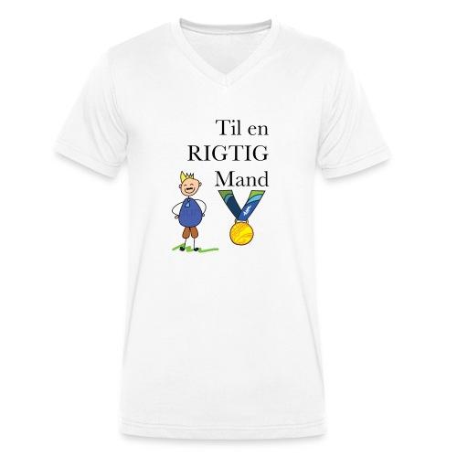 En rigtig mand - Økologisk Stanley & Stella T-shirt med V-udskæring til herrer