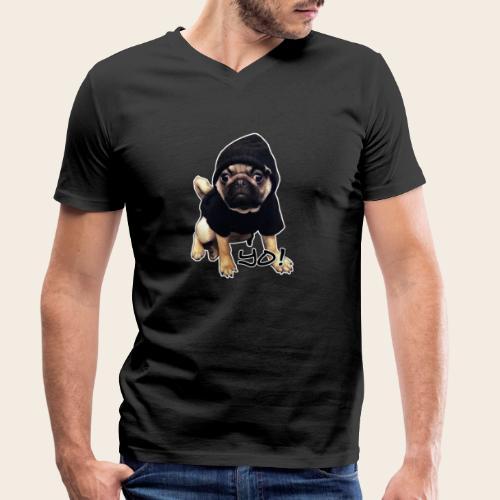 yo_mops_3 - Männer Bio-T-Shirt mit V-Ausschnitt von Stanley & Stella