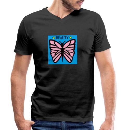 Fjäril motiv. Beauty rosa, svart och gul. - Ekologisk T-shirt med V-ringning herr från Stanley & Stella