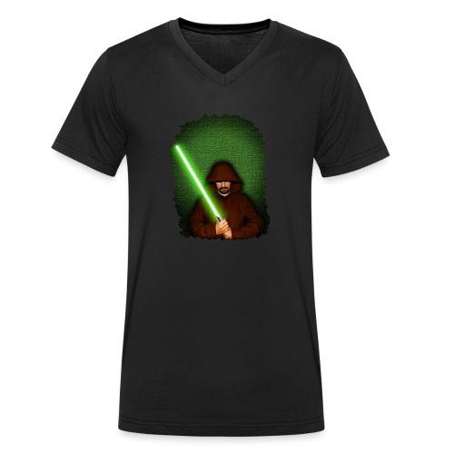 Jedi warrior with green lightsaber - T-shirt ecologica da uomo con scollo a V di Stanley & Stella