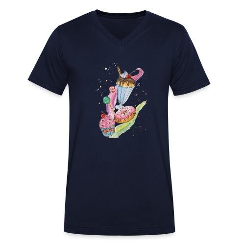 Sweets Watercolors Nadia Luongo - T-shirt ecologica da uomo con scollo a V di Stanley & Stella