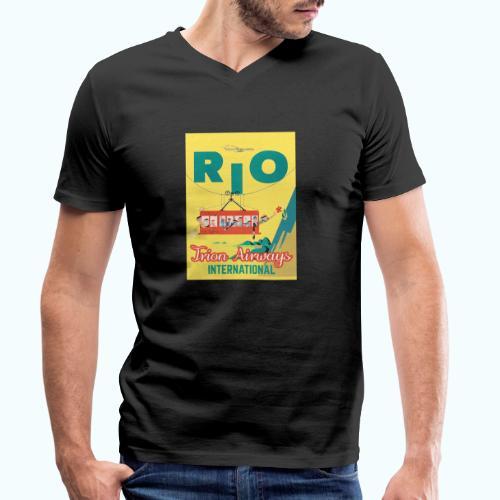Brasilien Vintage Reise Poster - Men's Organic V-Neck T-Shirt by Stanley & Stella