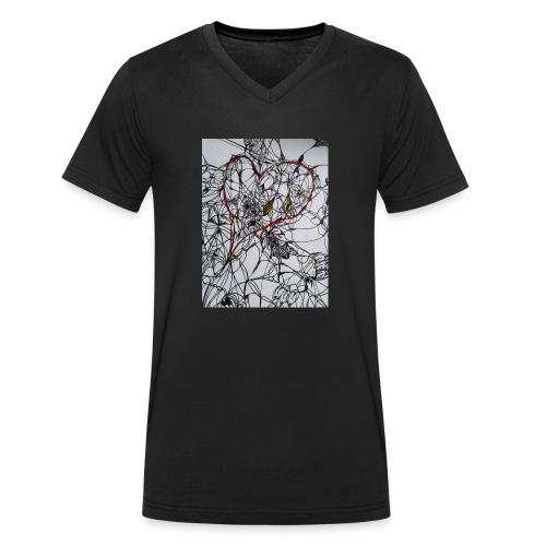 walentynkowe serce - Ekologiczna koszulka męska z dekoltem w serek Stanley & Stella