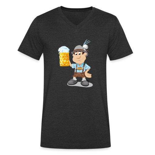Bier Maßkrug Lederhosen Cartoon Man - Männer Bio-T-Shirt mit V-Ausschnitt von Stanley & Stella