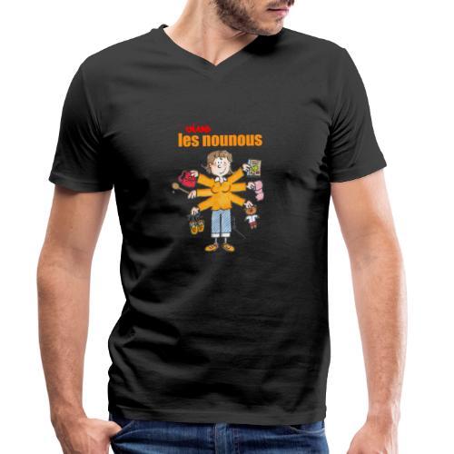 Danger ecole vive les nounous [mp] - T-shirt bio col V Stanley & Stella Homme