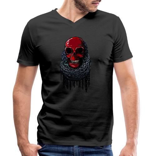 RED Skull in Chains - Men's Organic V-Neck T-Shirt by Stanley & Stella
